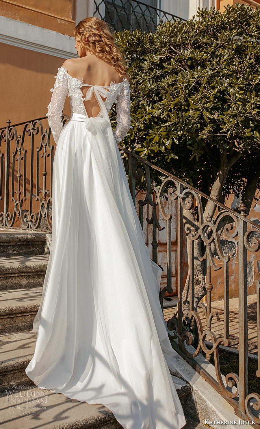 katherine joyce 2019 bridal long sleeves sweetheart neckline hevily embellished bodice satin skirt romantic modified a  line wedding dress v back chapel train (11) bv