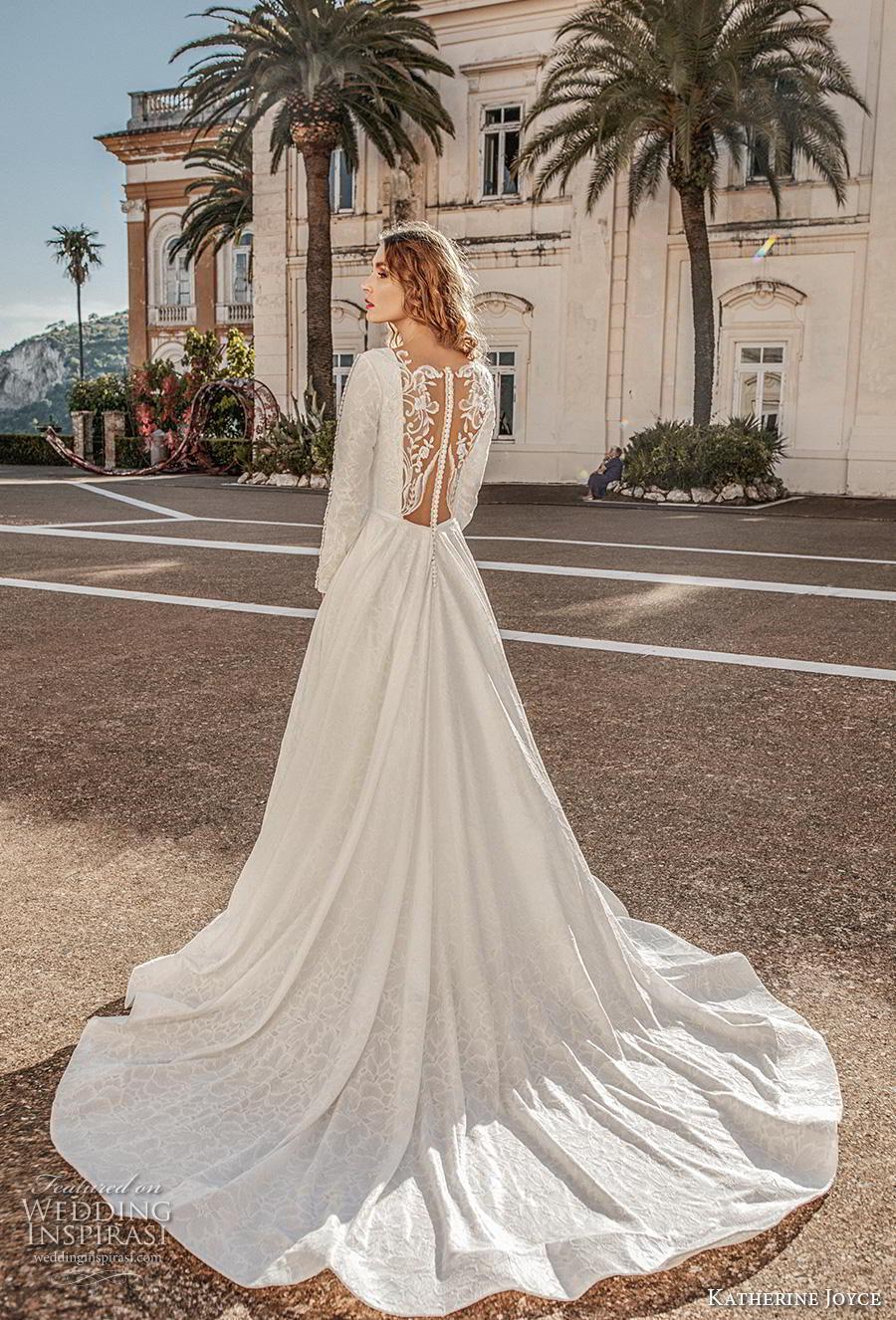 katherine joyce 2019 bridal long sleeves v neck full embellishment elegant princess a  line wedding dress sheer lace button back chapel train (12) bv