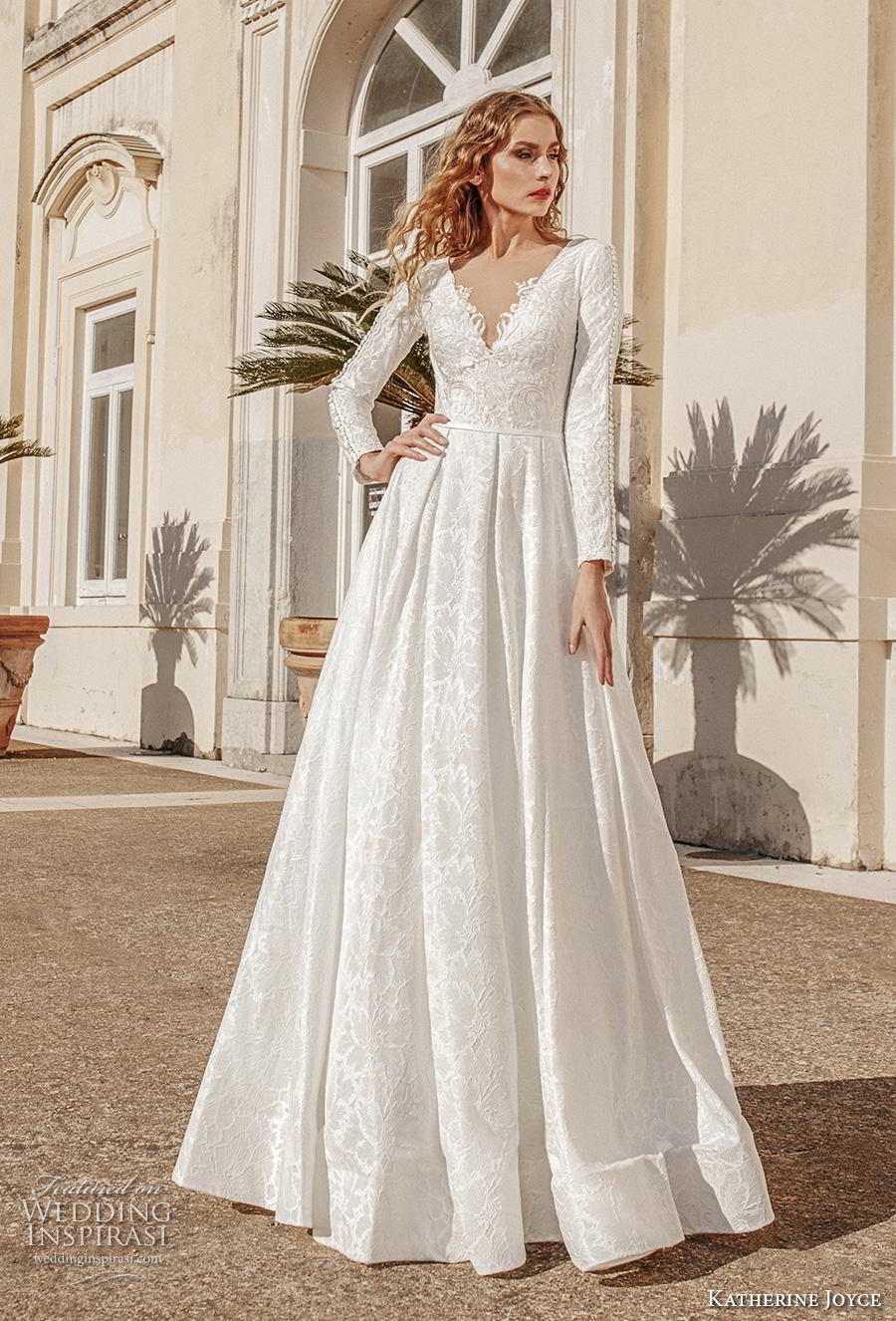 katherine joyce 2019 bridal long sleeves v neck full embellishment elegant princess a  line wedding dress sheer lace button back chapel train (12) mv