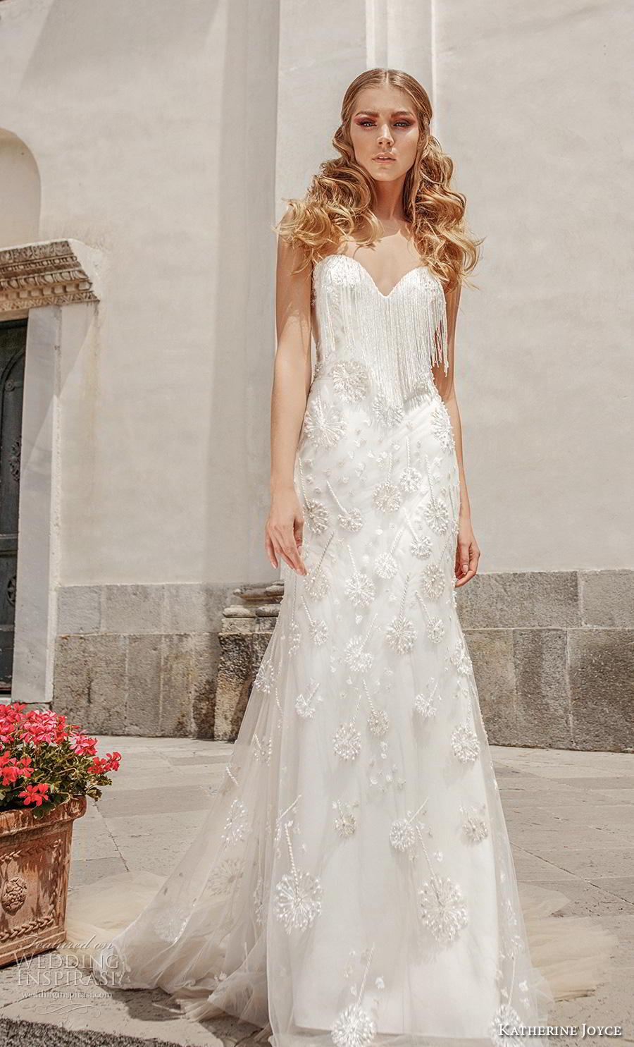 katherine joyce 2019 bridal sheer sweetheart neckline full embellishment fringes drop waist a  line wedding dress backless chapel train (10) mv