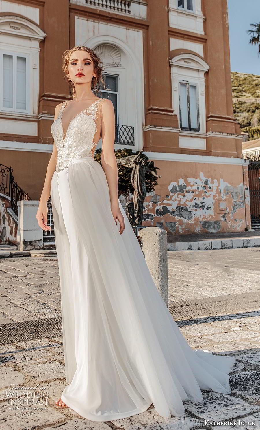 katherine joyce 2019 bridal sleeveless deep plunging v neck heavily embellished bodice elegant a  line wedding dress v back medium train (4) mv