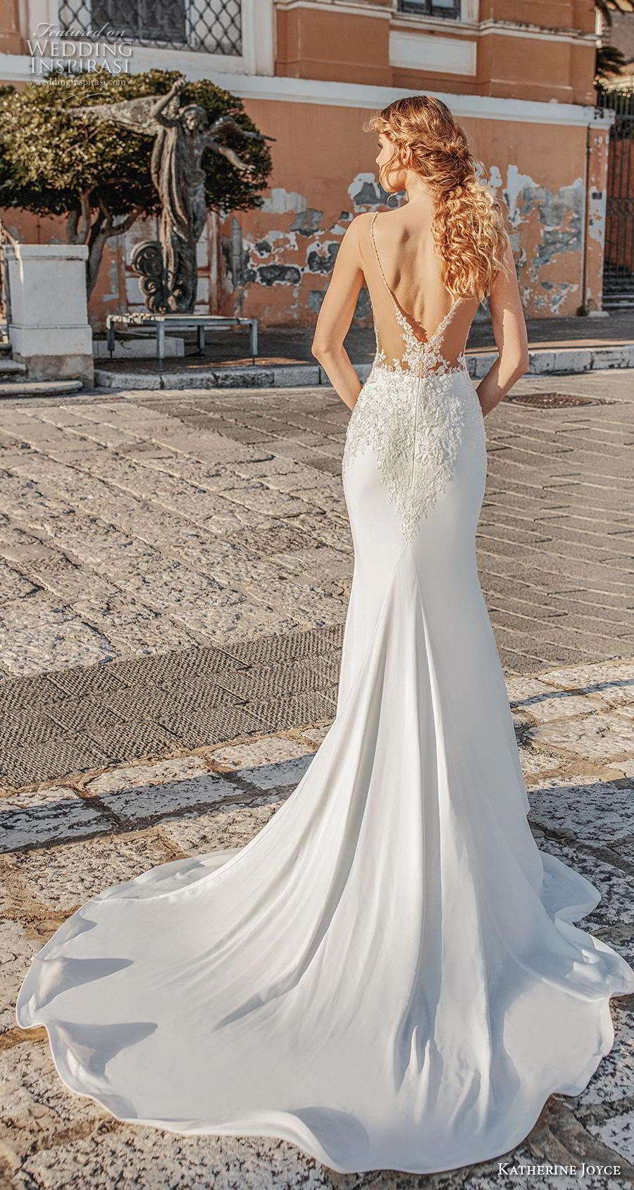 katherine joyce 2019 bridal sleeveless deep plunging v neck heavily embellished bodice elegant sheath wedding dress v back medium train (4) bv