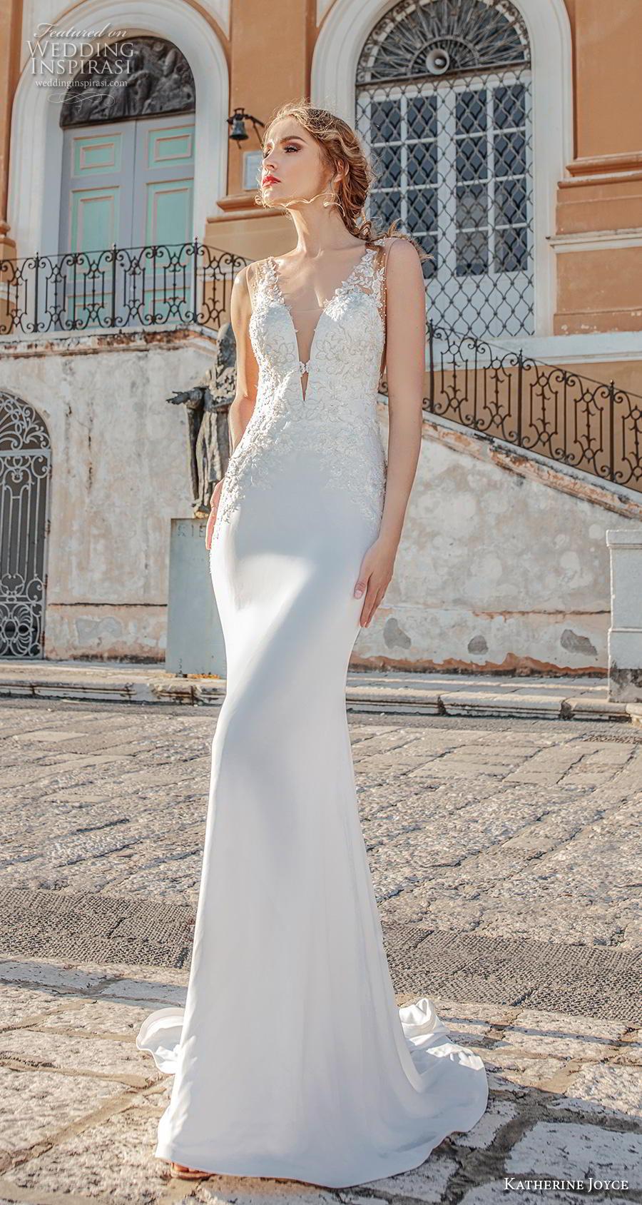 katherine joyce 2019 bridal sleeveless deep plunging v neck heavily embellished bodice elegant sheath wedding dress v back medium train (4) mv