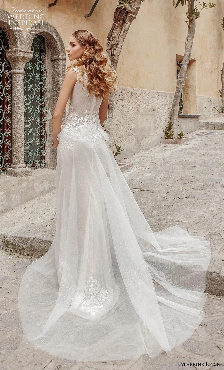 katherine joyce 2019 bridal sleeveless deep plunging v neck heavily embellished bodice peplum romantic sheath wedding dress covered back chapel train (5) bv
