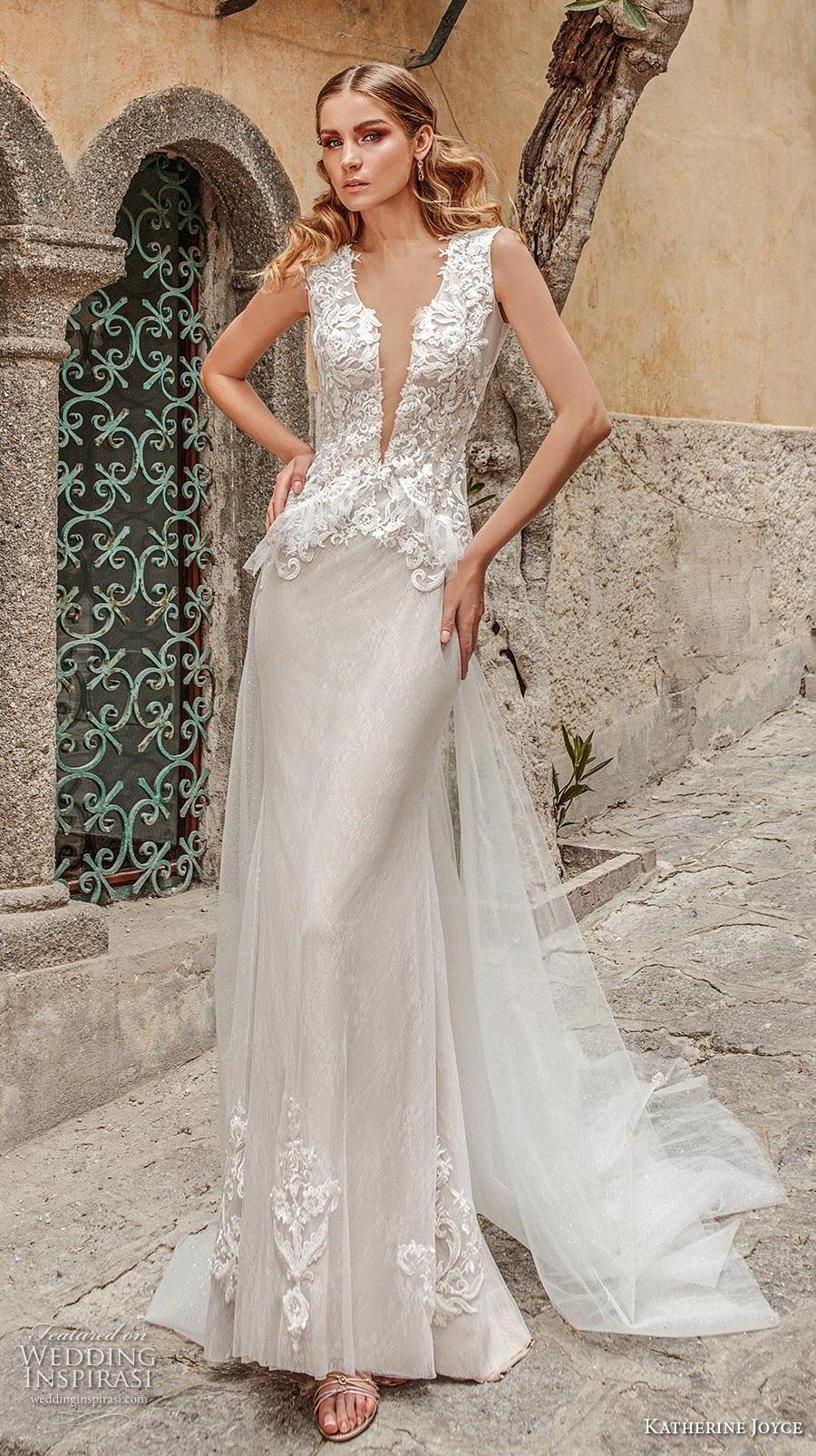 katherine joyce 2019 bridal sleeveless deep plunging v neck heavily embellished bodice peplum romantic sheath wedding dress covered back chapel train (5) mv