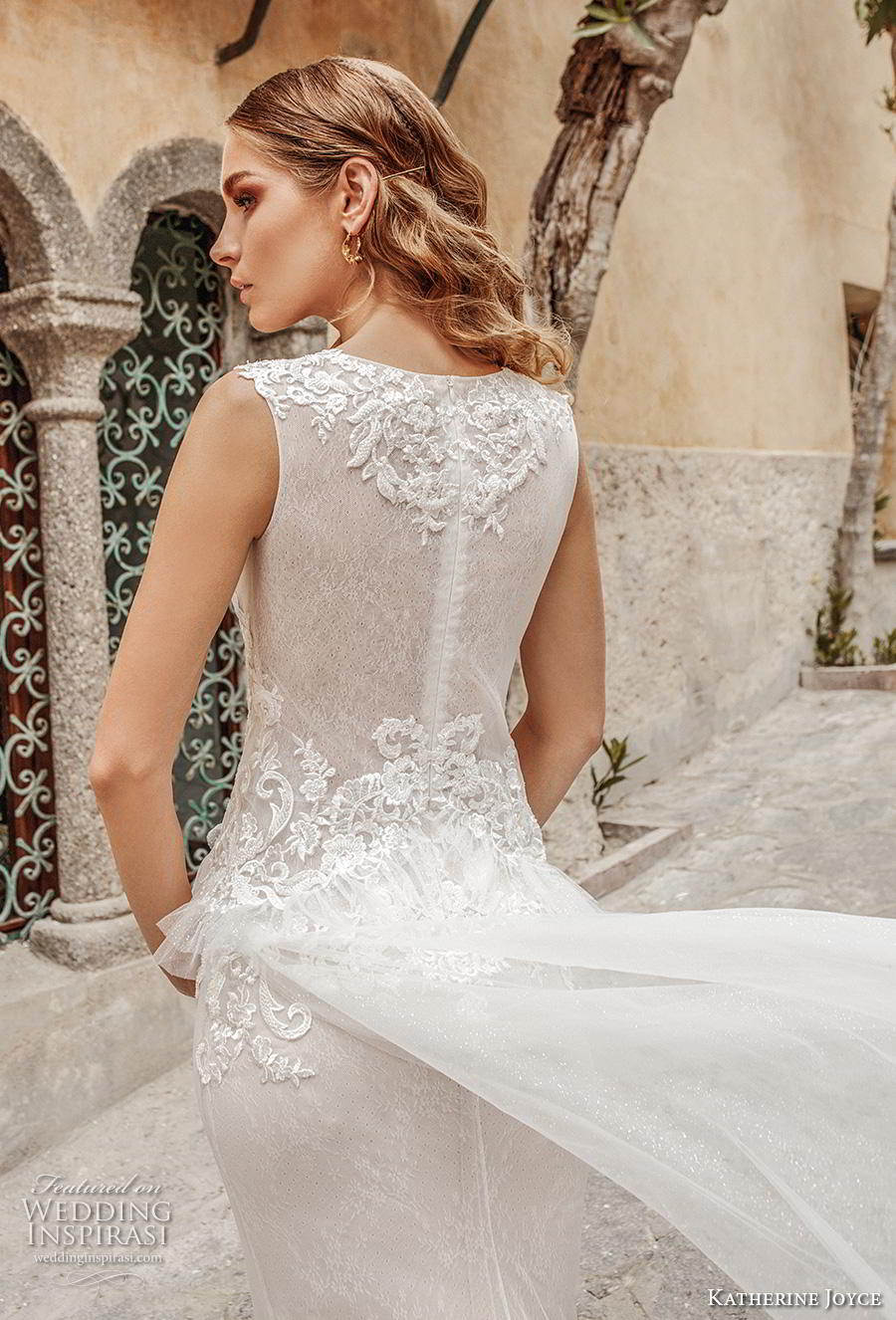 katherine joyce 2019 bridal sleeveless deep plunging v neck heavily embellished bodice peplum romantic sheath wedding dress covered back chapel train (5) zbv