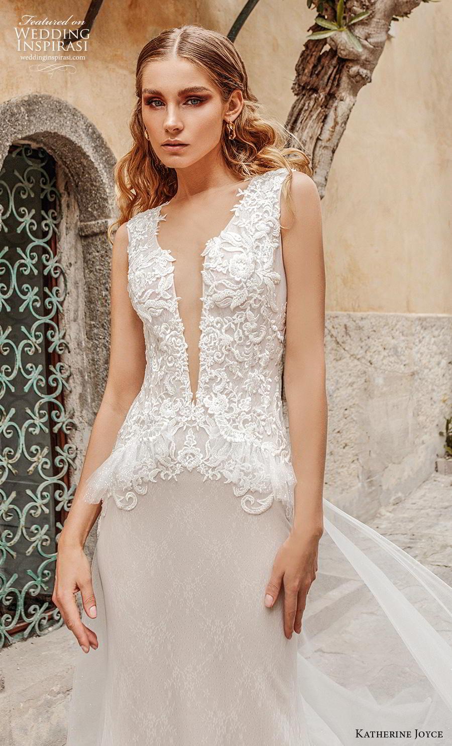 katherine joyce 2019 bridal sleeveless deep plunging v neck heavily embellished bodice peplum romantic sheath wedding dress covered back chapel train (5) zv