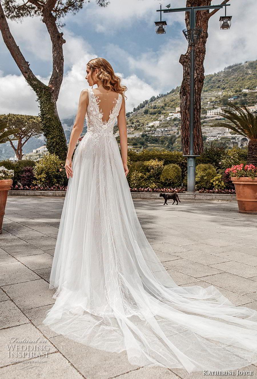 katherine joyce 2019 bridal sleeveless deep v neck heavily embellished bodice tulle skirt romantic a  line wedding dress v back chapel train (3) bv