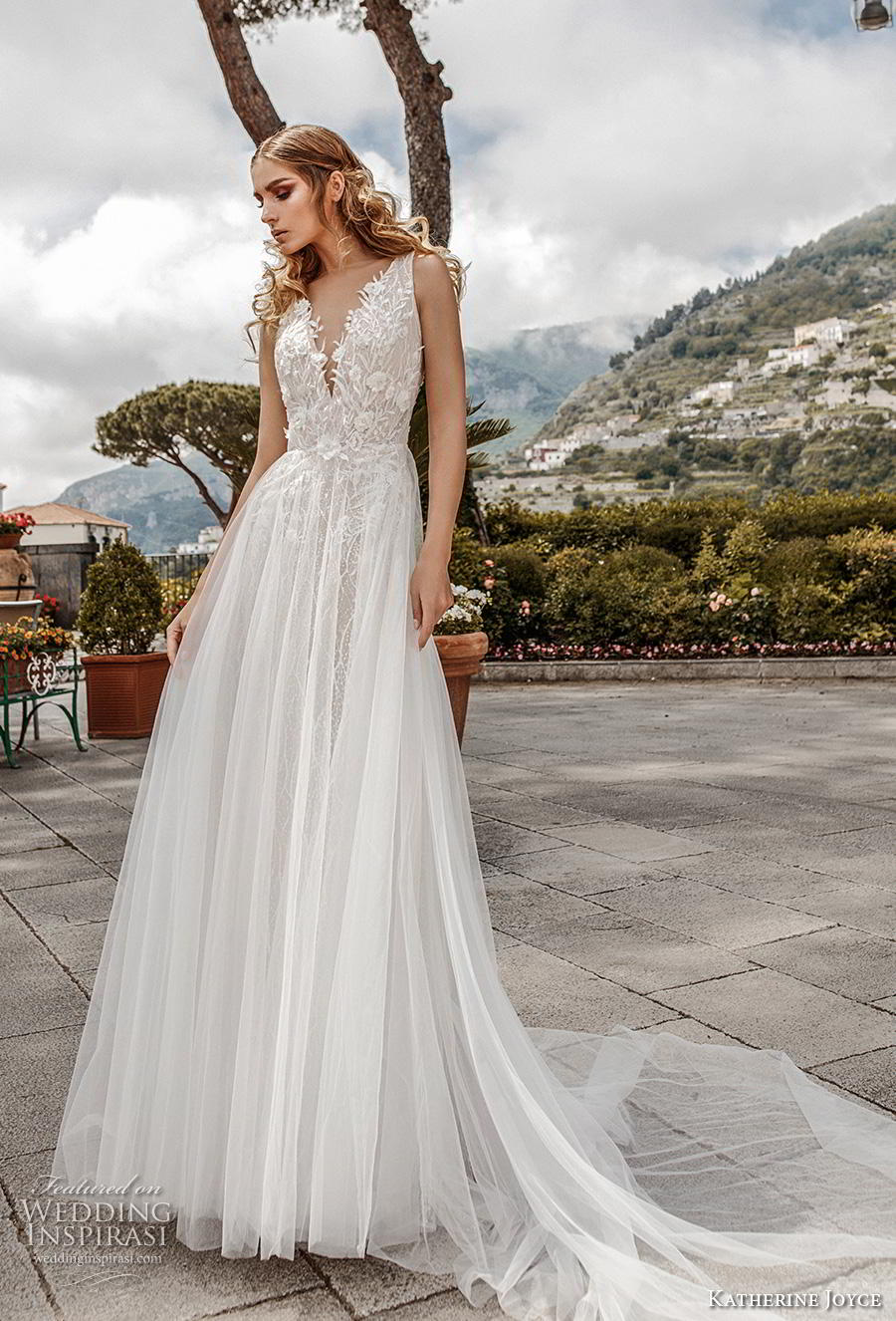 katherine joyce 2019 bridal sleeveless deep v neck heavily embellished bodice tulle skirt romantic a  line wedding dress v back chapel train (3) mv