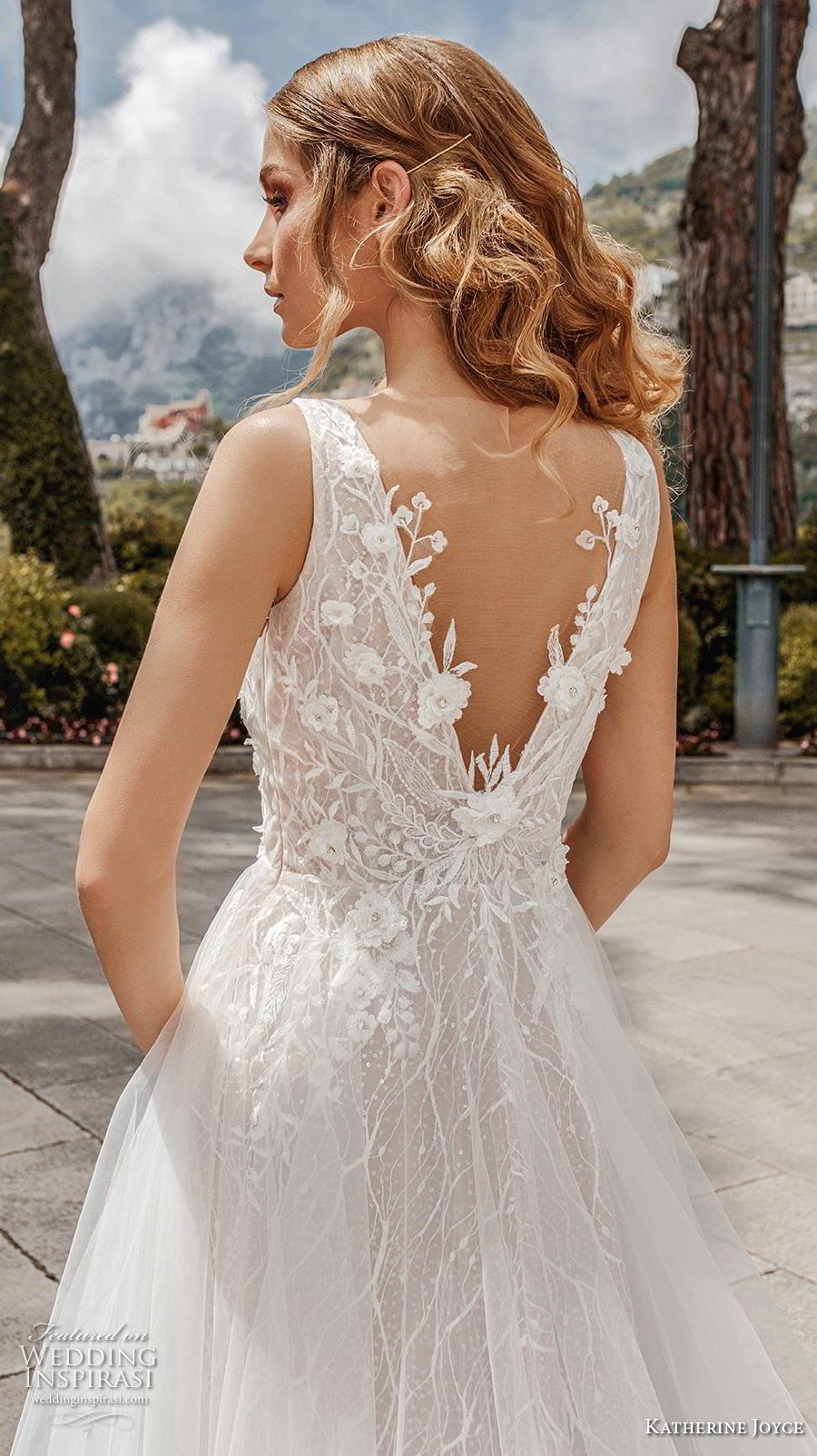katherine joyce 2019 bridal sleeveless deep v neck heavily embellished bodice tulle skirt romantic a  line wedding dress v back chapel train (3) zbv