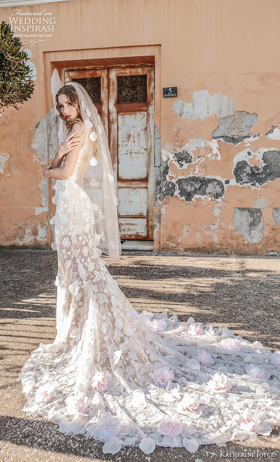 katherine joyce 2019 bridal sleeveless illusion boat deep v neck full embellishment romantic fit and flare trumpet wedding dress low open back backless chapel train (1) bv