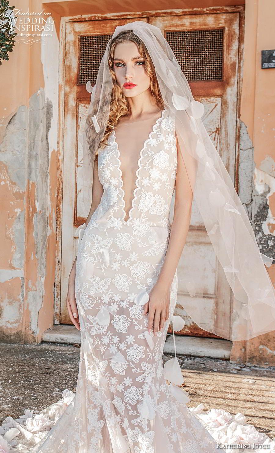 katherine joyce 2019 bridal sleeveless illusion boat deep v neck full embellishment romantic fit and flare trumpet wedding dress low open back backless chapel train (1) zv