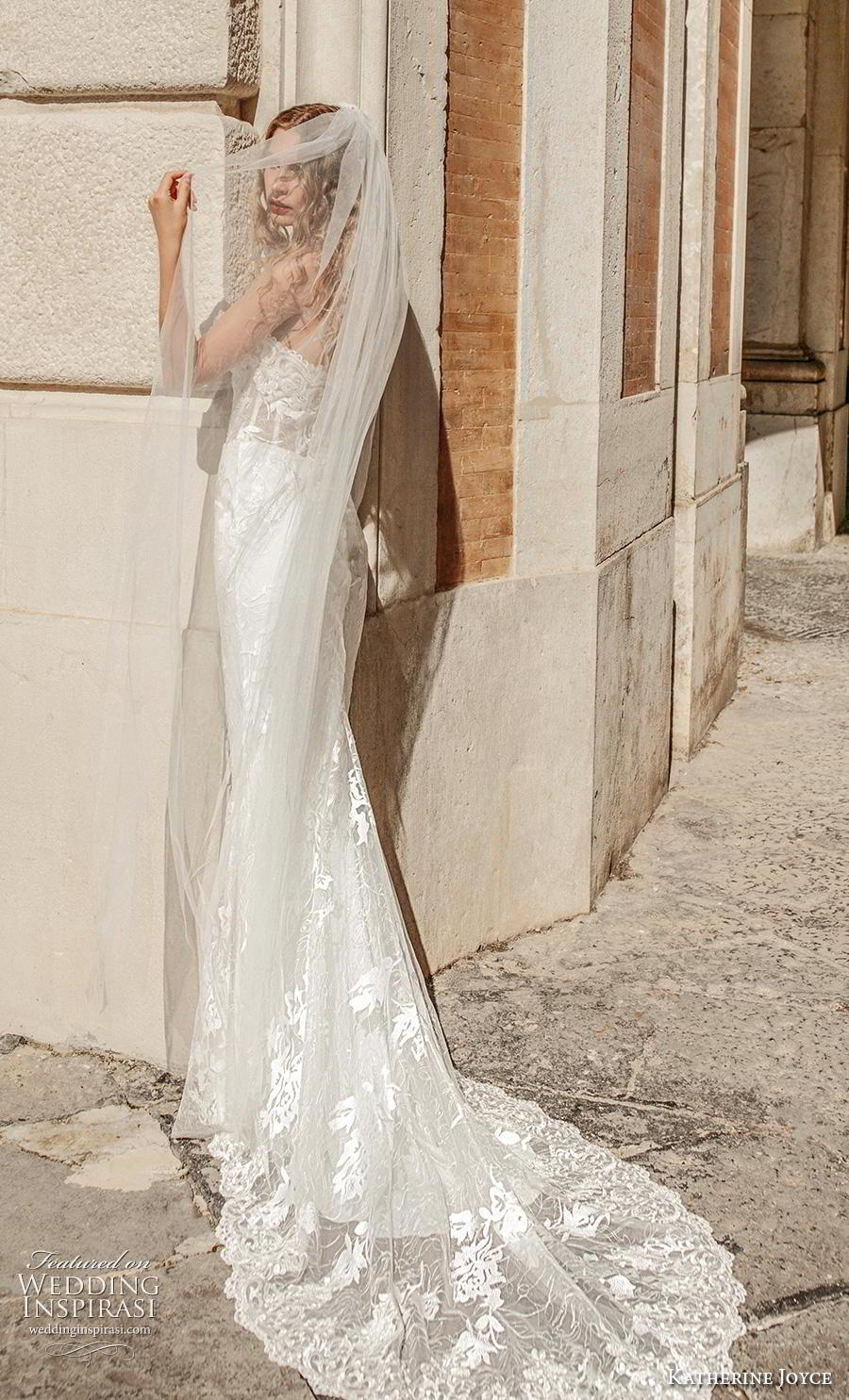 katherine joyce 2019 bridal strapless sweetheart neckline heavily embellished bodice elegant fit and flare sheath wedding dress medium train (14) bv