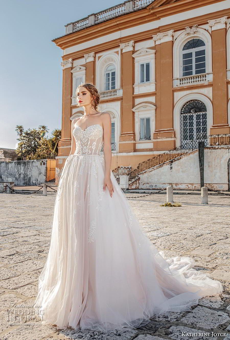 katherine joyce 2019 bridal strapless sweetheart neckline heavily embellished bodice romantic blush a  line wedding dress mid back chapel train (2) mv