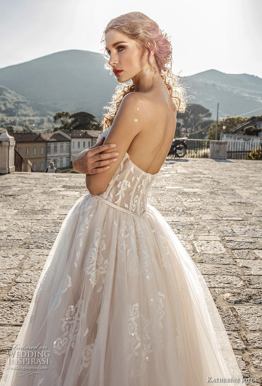 katherine joyce 2019 bridal strapless sweetheart neckline heavily embellished bodice romantic blush a  line wedding dress mid back chapel train (2) zbv