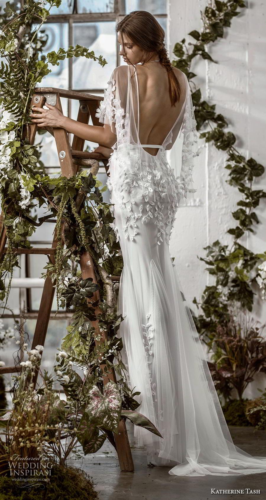 katherine tash fall 2019 bridal half kimino sleeves deep v neck heavily embellished bodice sexy fit and flare wedding dress backless sweep train (1) bv