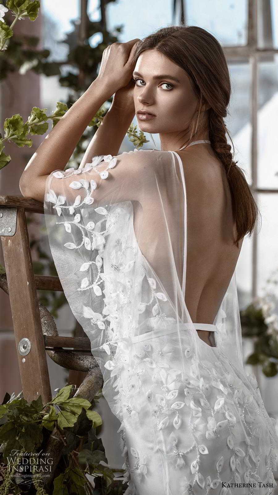 katherine tash fall 2019 bridal half kimino sleeves deep v neck heavily embellished bodice sexy fit and flare wedding dress backless sweep train (1) zbv