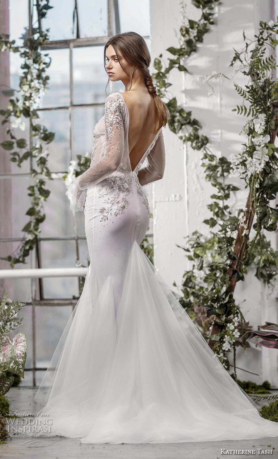 katherine tash fall 2019 bridal long poet sleeves bateau neckline heavily embellished sheer bodice elegant mermaid wedding dress backless v back medium train (5) bv