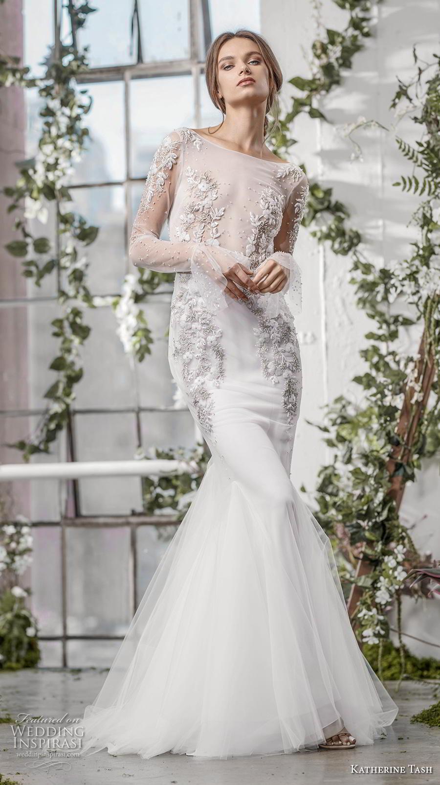 katherine tash fall 2019 bridal long poet sleeves bateau neckline heavily embellished sheer bodice elegant mermaid wedding dress backless v back medium train (5) mv