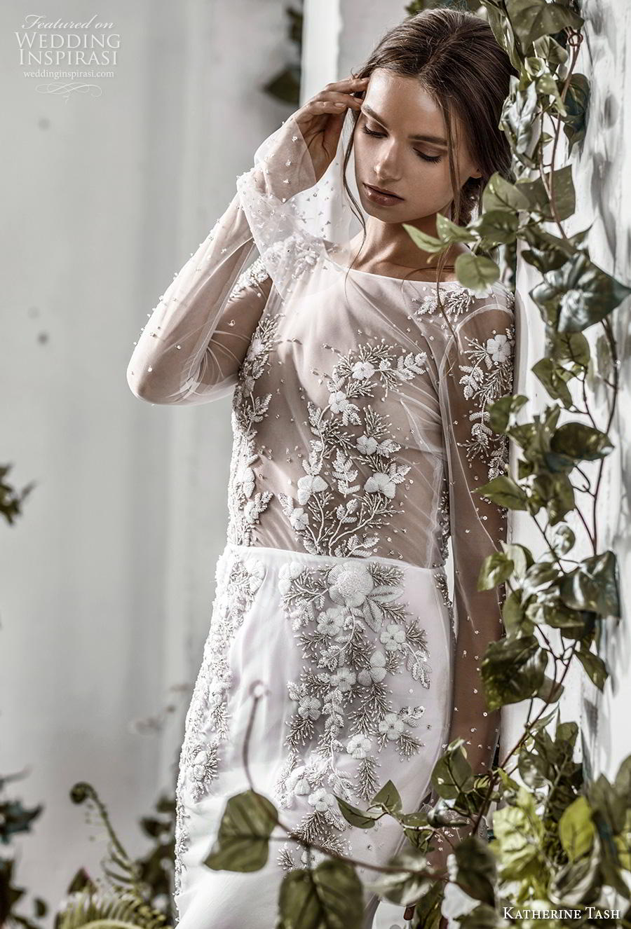 katherine tash fall 2019 bridal long poet sleeves bateau neckline heavily embellished sheer bodice elegant mermaid wedding dress backless v back medium train (5) zv