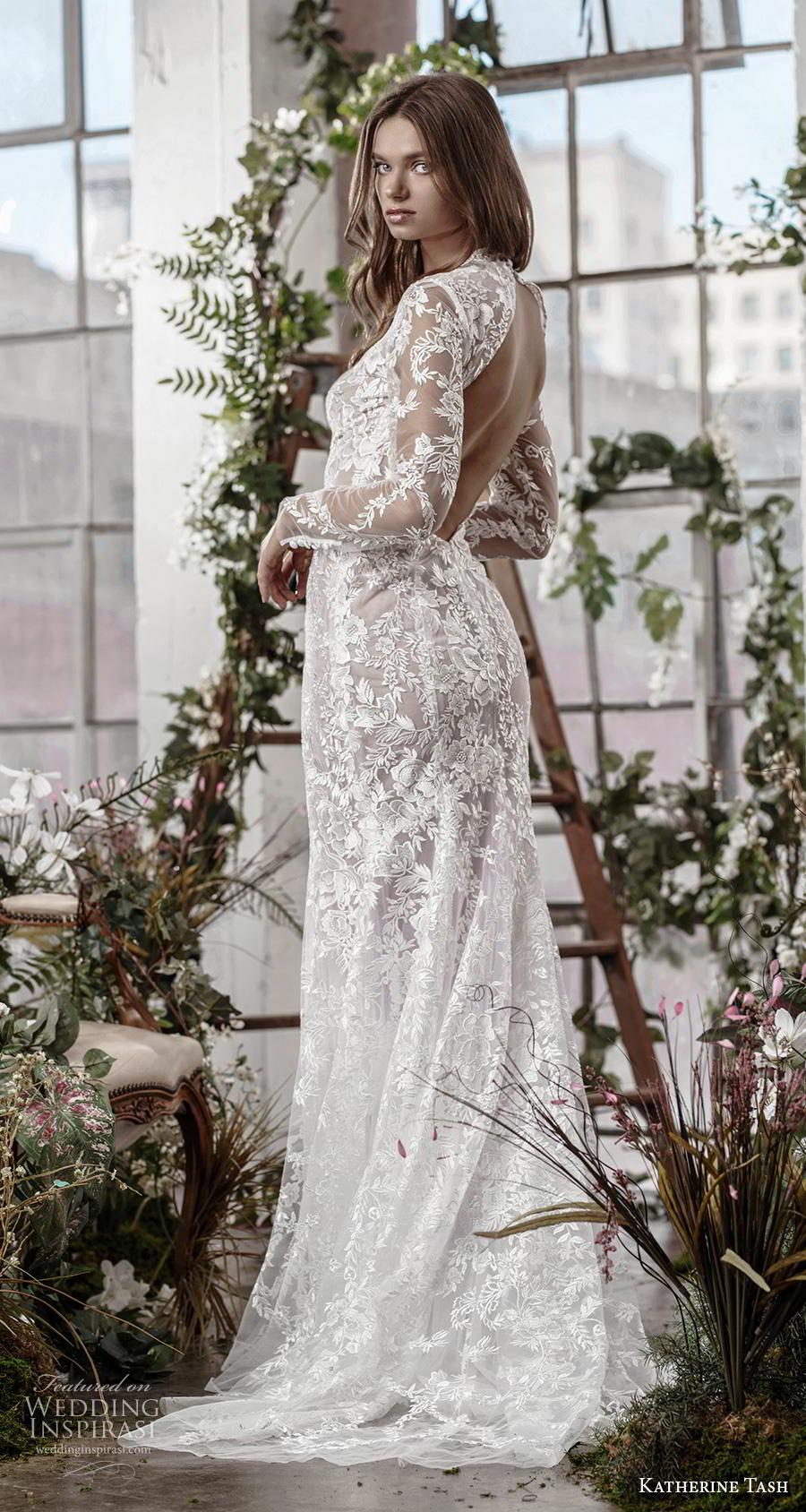 katherine tash fall 2019 bridal long sleeves deep plunging v neck full embellishment slit skirt sexy elegant fit and flare sheath wedding dress keyhole back medium train (10) bv