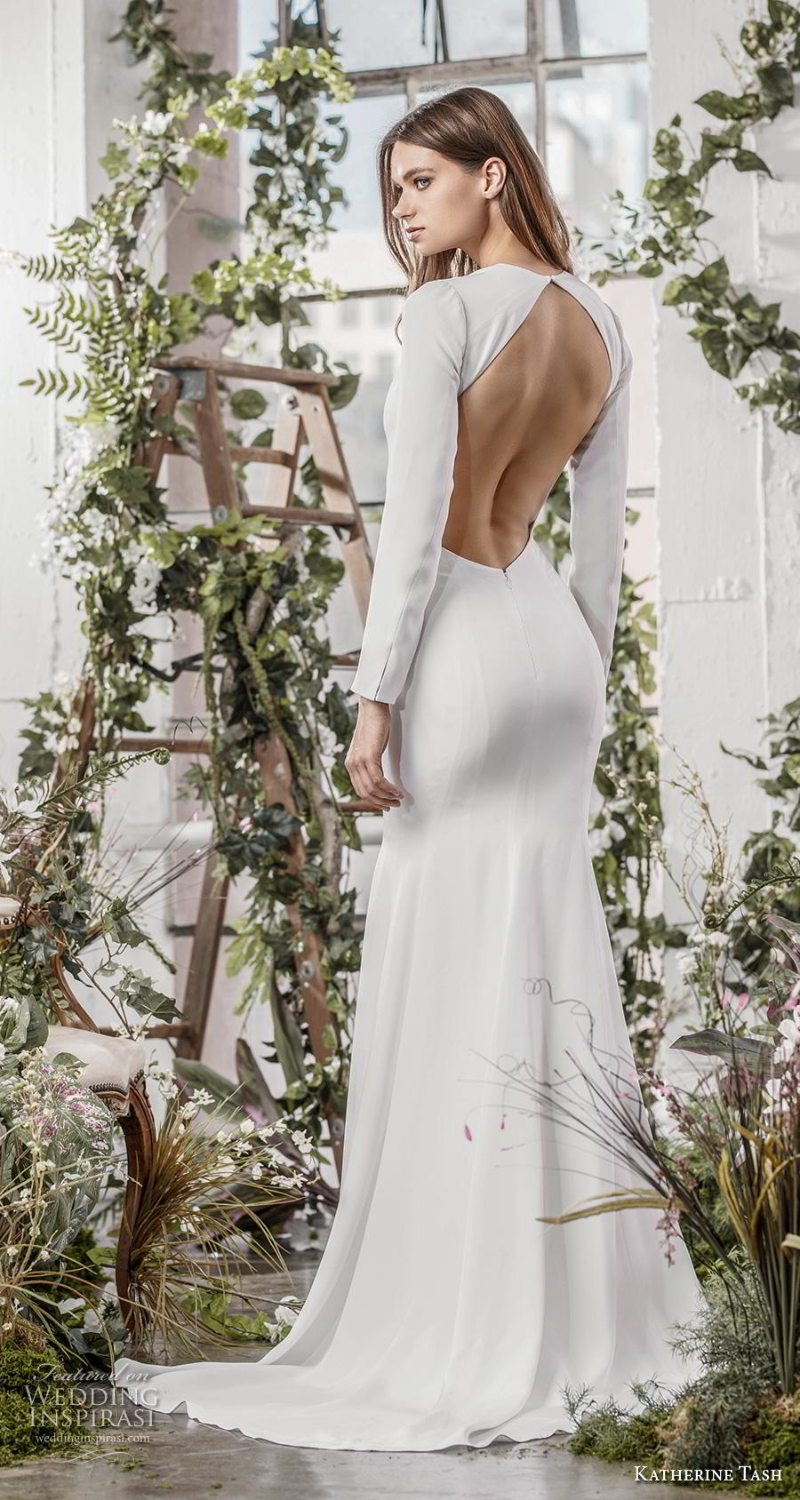 katherine tash fall 2019 bridal long sleeves deep plunging v neck simple clean minimalist elegant sheath wedding dress low keyhole back sweep train (4) bv