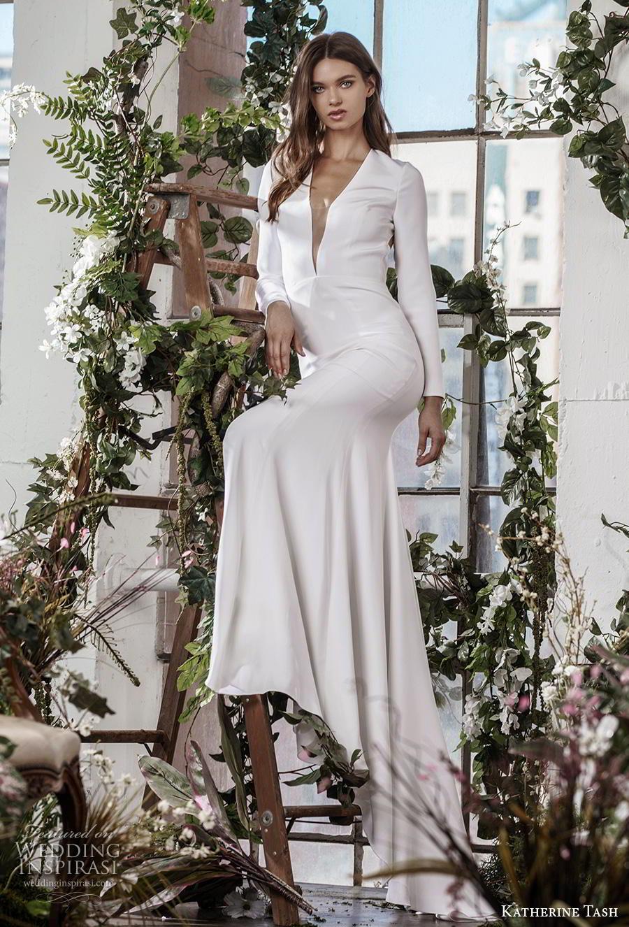 katherine tash fall 2019 bridal long sleeves deep plunging v neck simple clean minimalist elegant sheath wedding dress low keyhole back sweep train (4) mv