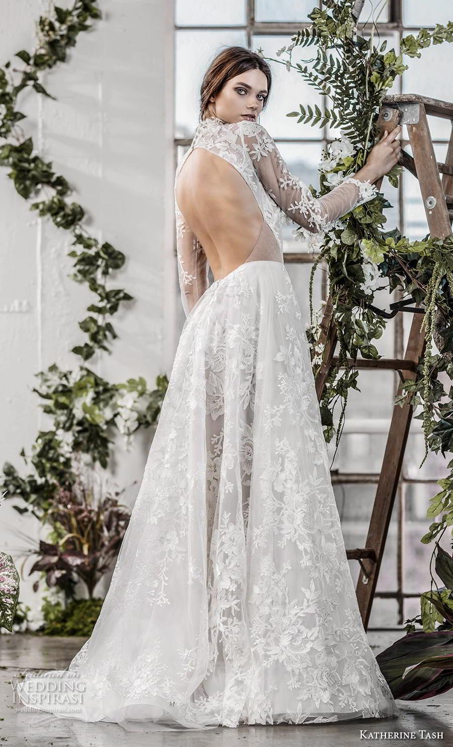 katherine tash fall 2019 bridal long sleeves high neck full embellishment romantic princess a  line wedding dress keyhole back sweep train (11) bv