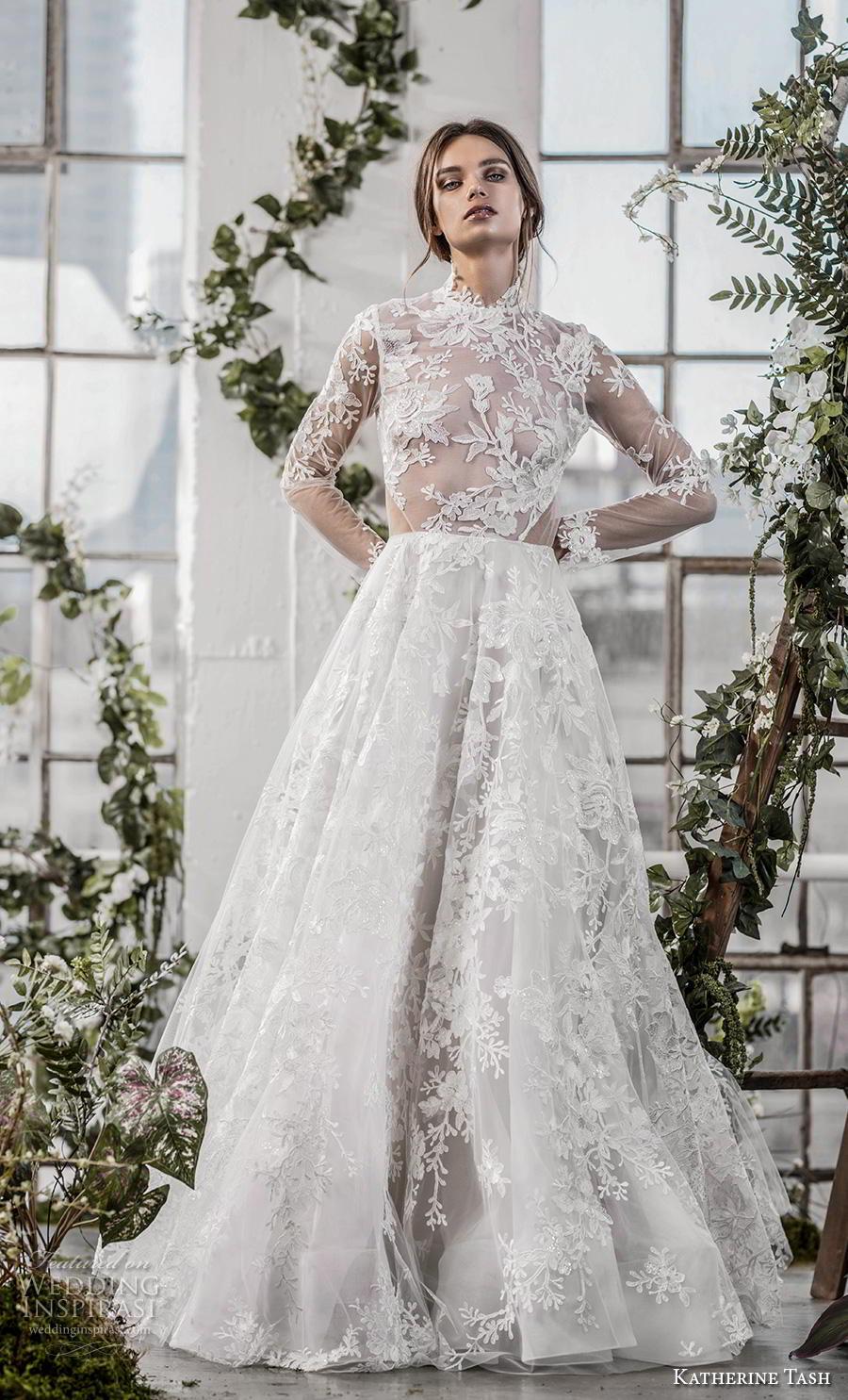 katherine tash fall 2019 bridal long sleeves high neck full embellishment romantic princess a  line wedding dress keyhole back sweep train (11) mv