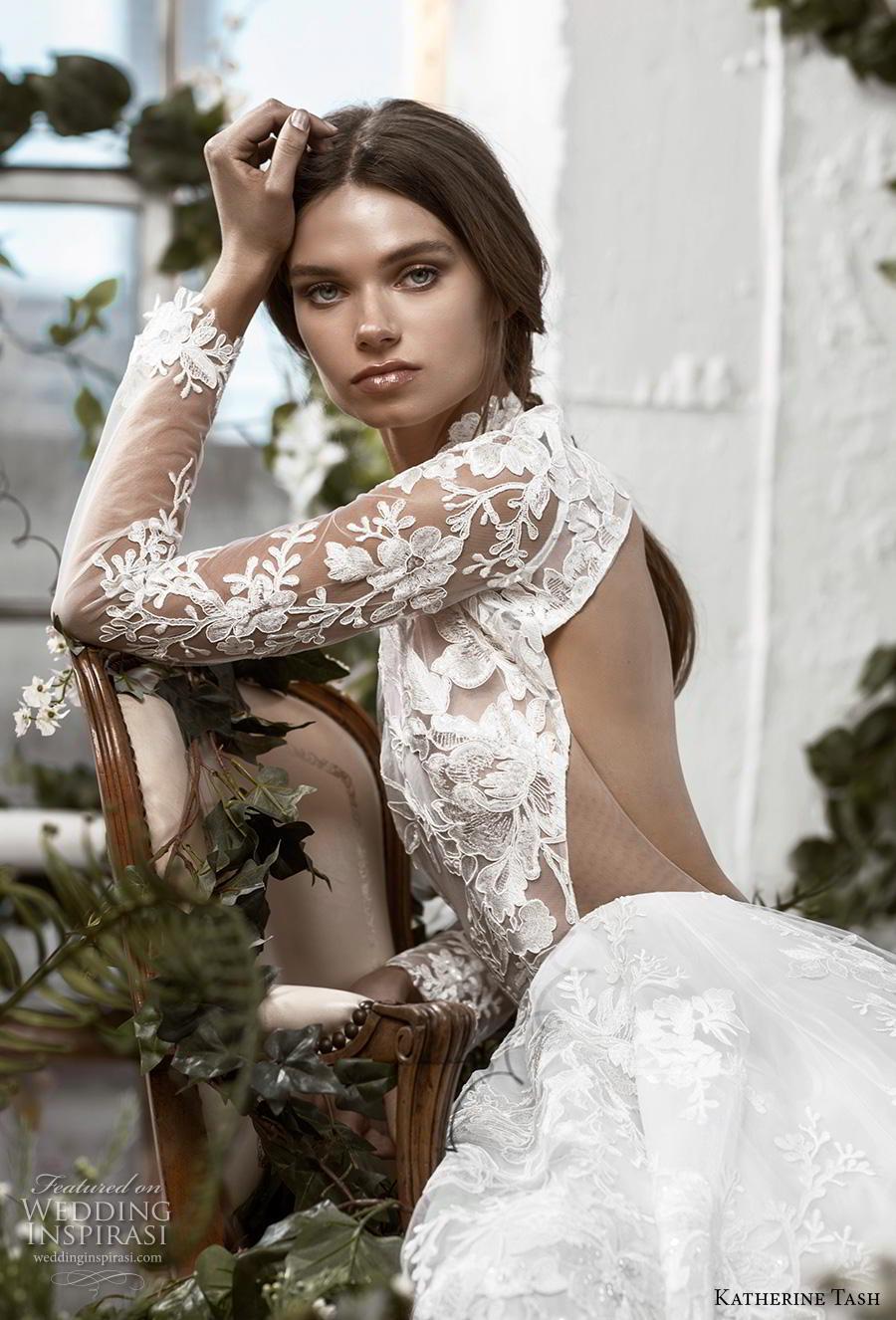katherine tash fall 2019 bridal long sleeves high neck full embellishment romantic princess a  line wedding dress keyhole back sweep train (11) zv