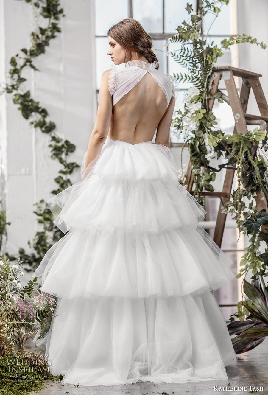 katherine tash fall 2019 bridal sleeveless high neck keyhole ruched bodice tiered skirt romantic ball gown a  line wedding dress keyhole back sweep train (12) bv
