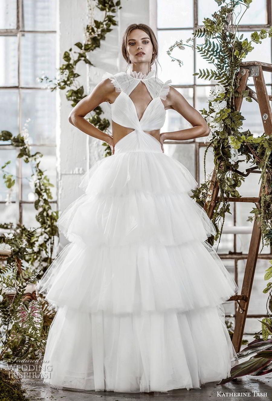 katherine tash fall 2019 bridal sleeveless high neck keyhole ruched bodice tiered skirt romantic ball gown a  line wedding dress keyhole back sweep train (12) mv