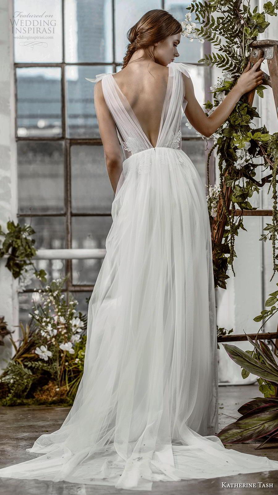 katherine tash fall 2019 bridal sleeveless illusion bateau v neck ruched embellished bodice romantic soft a  line wedding dress open v back chapel train (9) bv
