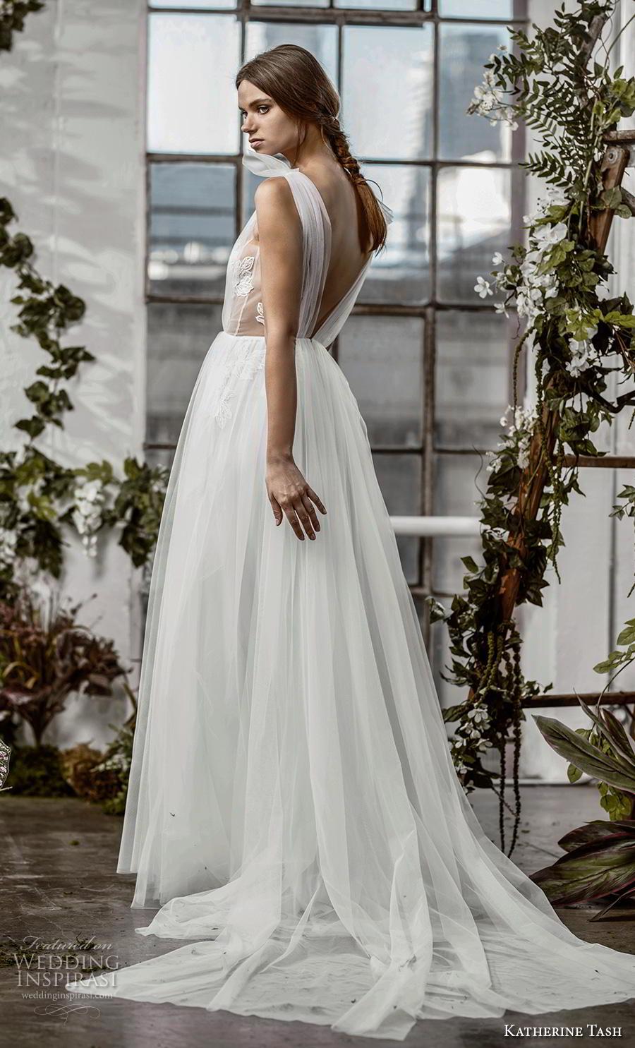 katherine tash fall 2019 bridal sleeveless illusion bateau v neck ruched embellished bodice romantic soft a  line wedding dress open v back chapel train (9) sdv