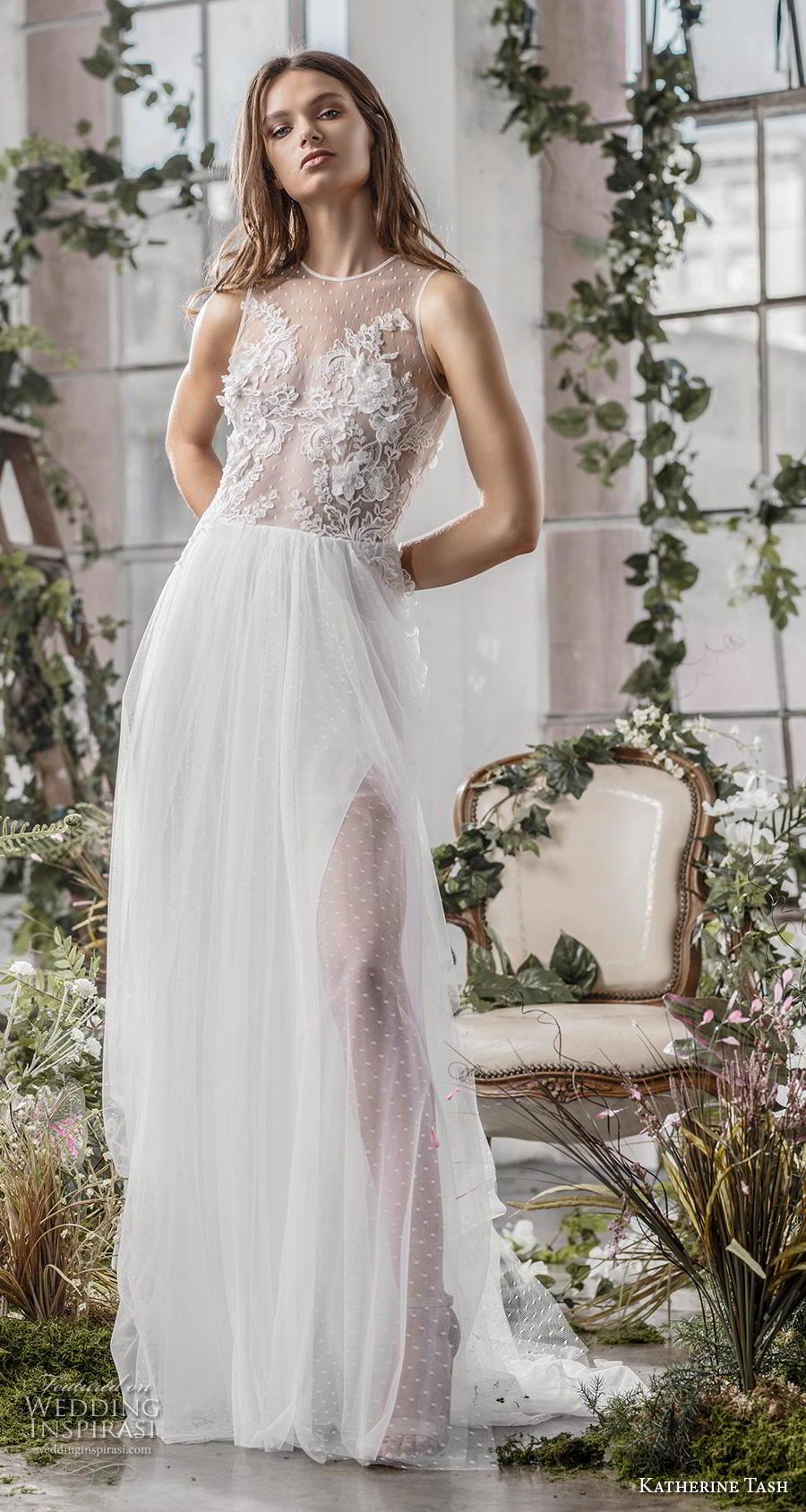 katherine tash fall 2019 bridal sleeveless jewel neck heavily embellished bodice tulle slit skirt romantic soft a  line wedding dress (2) mv