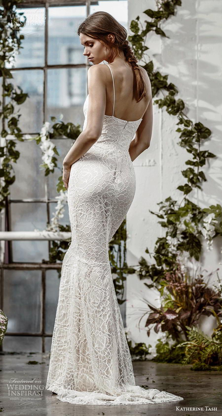katherine tash fall 2019 bridal sleeveless spaghetti strap diamond neckline full embellishment elegant blush sheath fit and flare wedding dress sweep train (8) bv