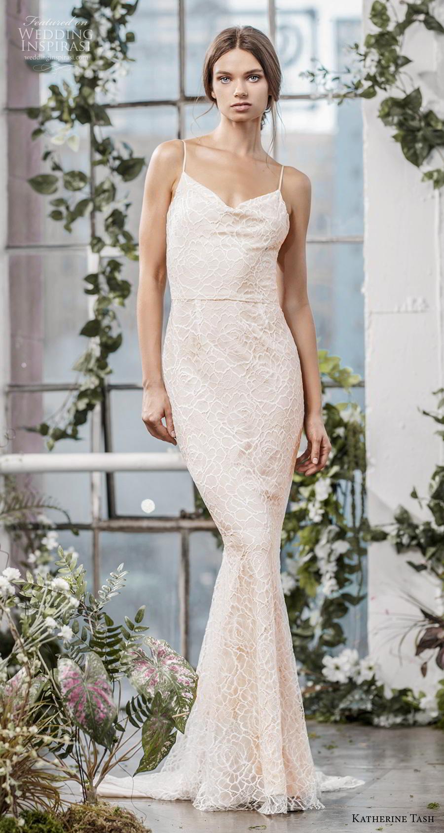 katherine tash fall 2019 bridal sleeveless spaghetti strap diamond neckline full embellishment elegant blush sheath fit and flare wedding dress sweep train (8) mv