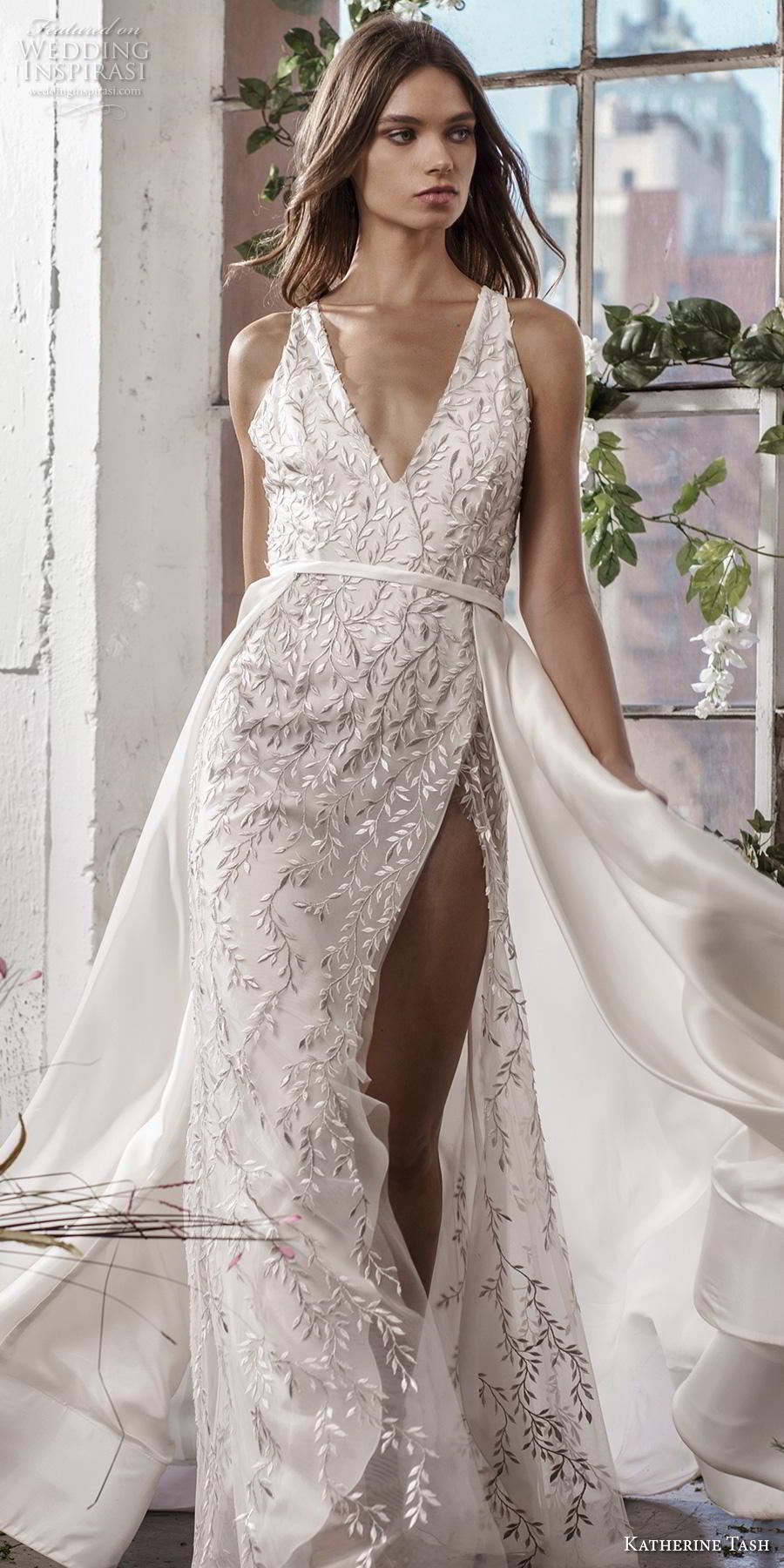 katherine tash fall 2019 bridal sleeveless v neck full embellishment slit skirt elegant sexy sheath wedding dress a  line overskirt backless v back chapel train (3) lv