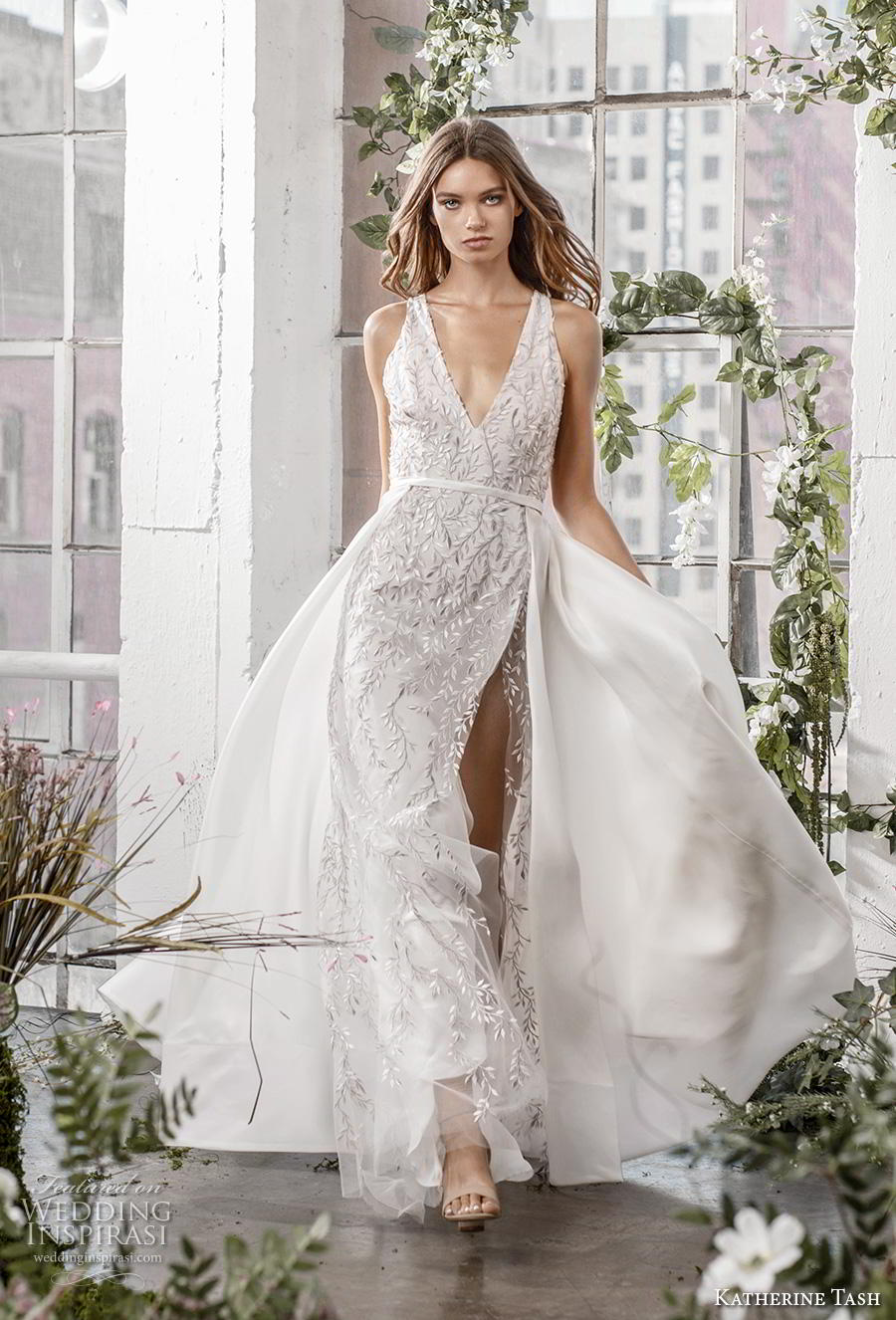 katherine tash fall 2019 bridal sleeveless v neck full embellishment slit skirt elegant sexy sheath wedding dress a  line overskirt backless v back chapel train (3) mv