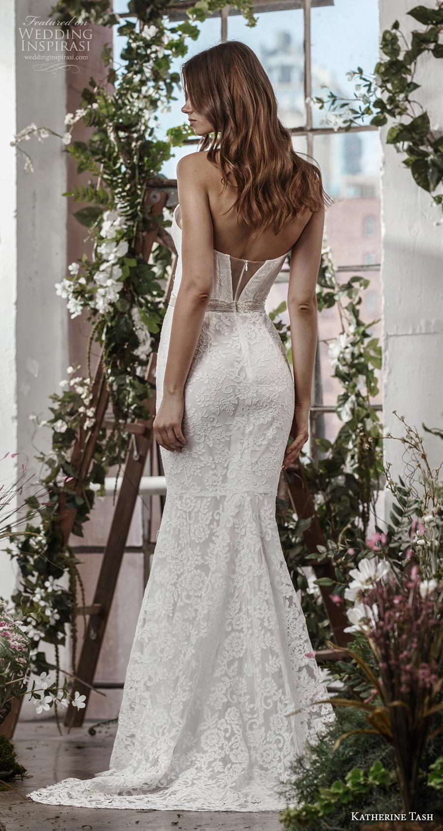 katherine tash fall 2019 bridal strapless deep plunging sweetheart neckline full embellishment elegant fit and flare sheath wedding dress mid back sweep back (7) bv