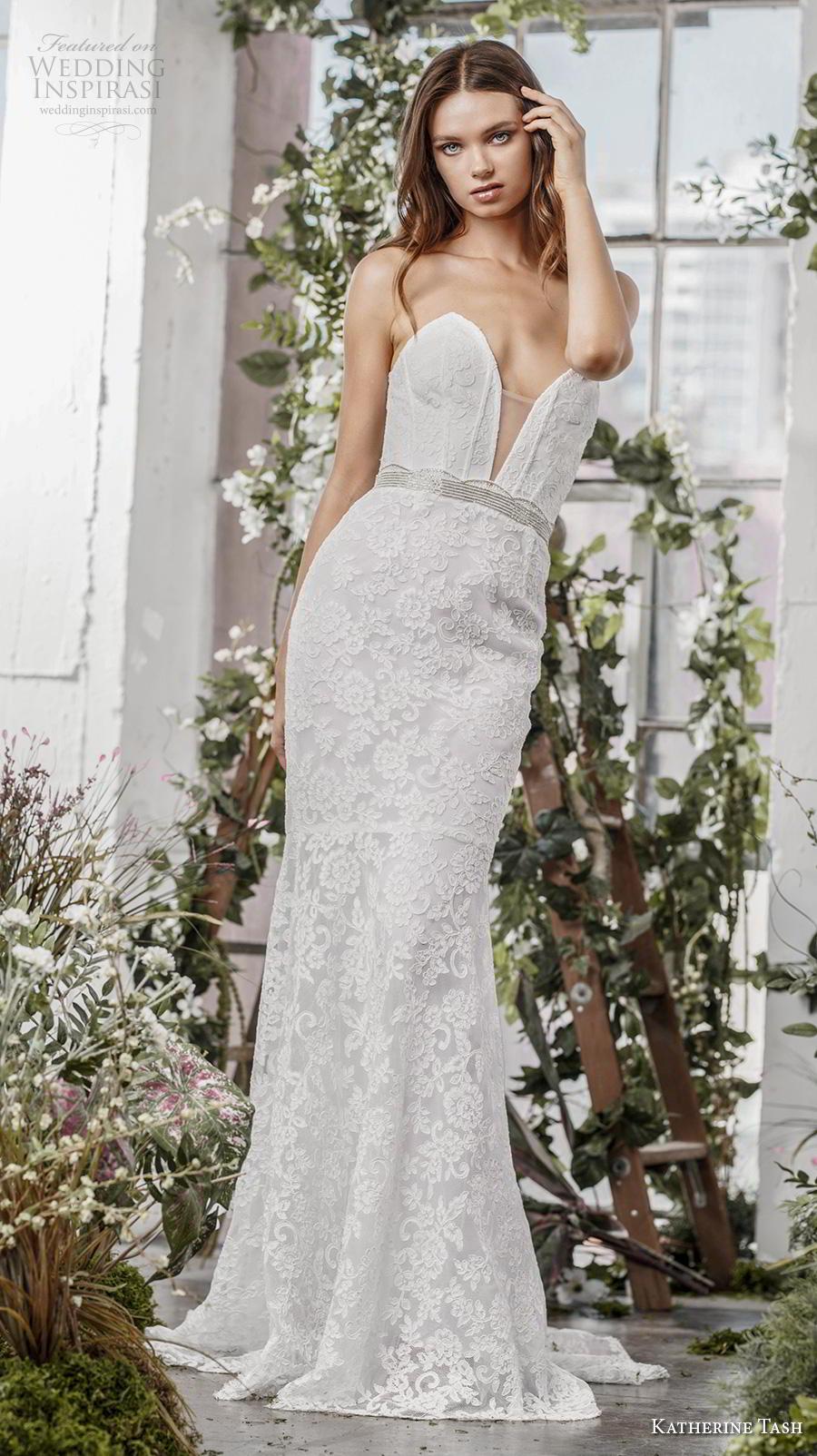 katherine tash fall 2019 bridal strapless deep plunging sweetheart neckline full embellishment elegant fit and flare sheath wedding dress mid back sweep back (7) mv