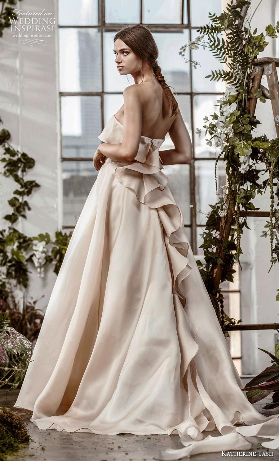 katherine tash fall 2019 bridal strapless straight across neckline simple modern champagn a  line wedding dress sweep train (13) bv