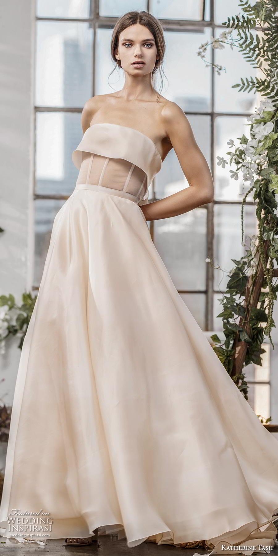 katherine tash fall 2019 bridal strapless straight across neckline simple modern champagn a  line wedding dress sweep train (13) lv