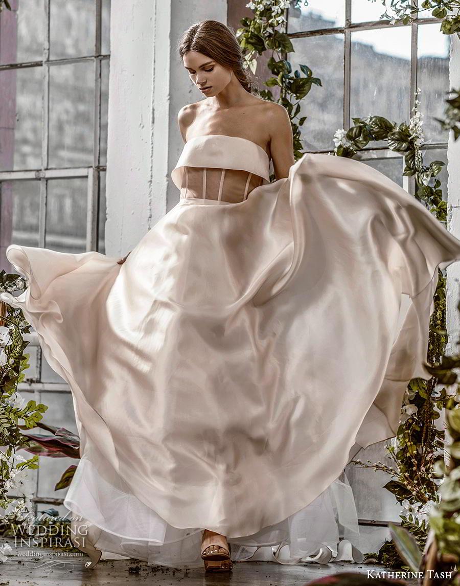 katherine tash fall 2019 bridal strapless straight across neckline simple modern champagn a  line wedding dress sweep train (13) mv
