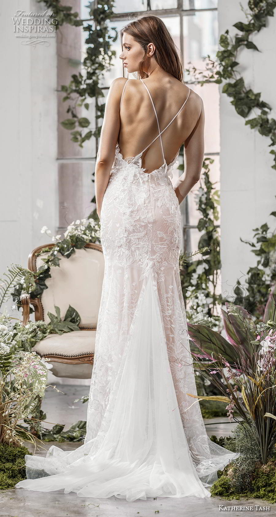 katherine tash fall 2019 bridal thin strap v neck full embellishment romantic blush fit and flare wedding dress cross strap medium train (6) bv