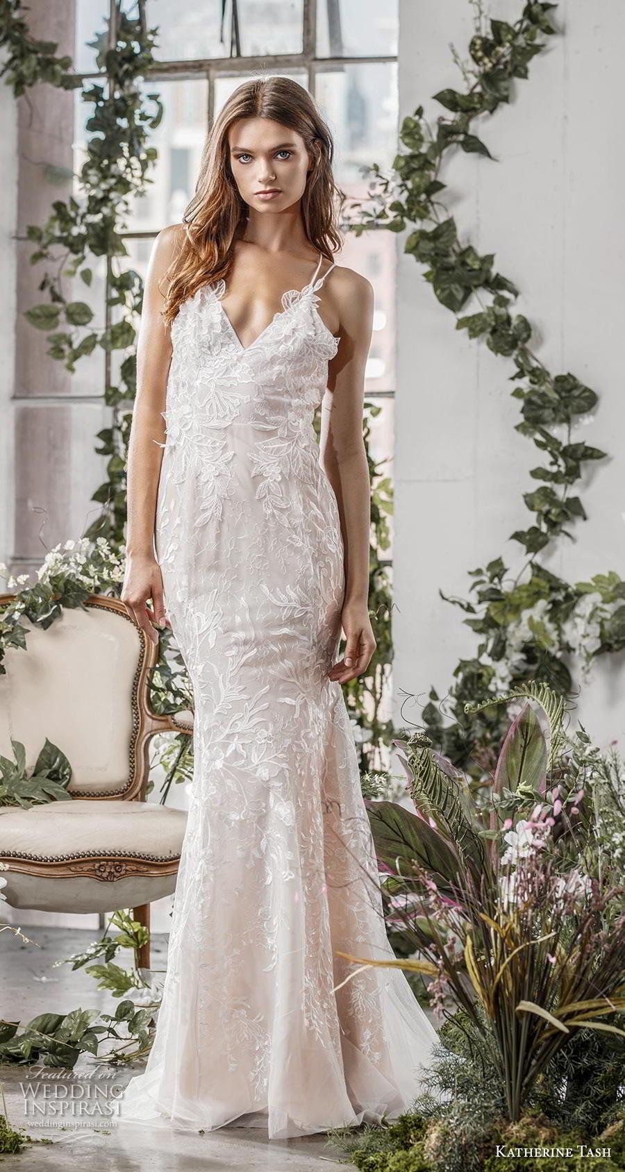 katherine tash fall 2019 bridal thin strap v neck full embellishment romantic blush fit and flare wedding dress cross strap medium train (6) mv