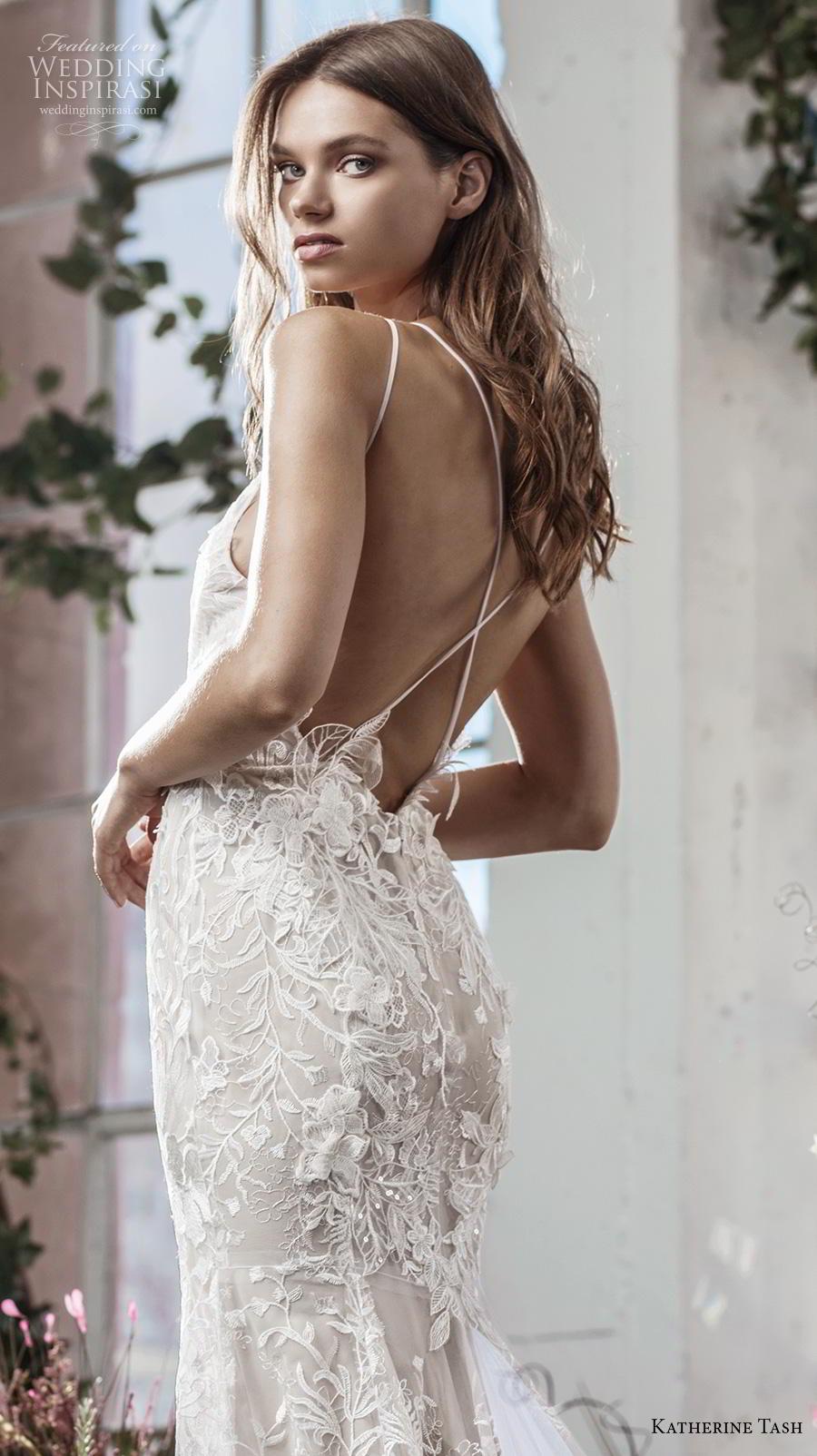 katherine tash fall 2019 bridal thin strap v neck full embellishment romantic blush fit and flare wedding dress cross strap medium train (6) zbv