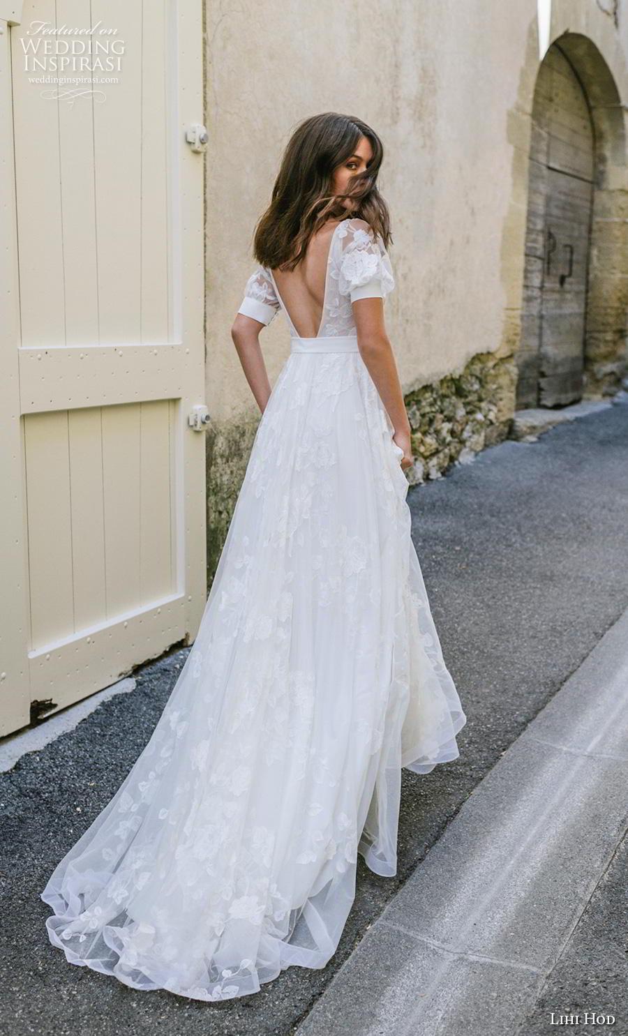 lihi hod 2019 bridal half sleeves deep v neck light embellishment romantic bohemian modified a  line wedding dress backless v back chapel train (6) bv