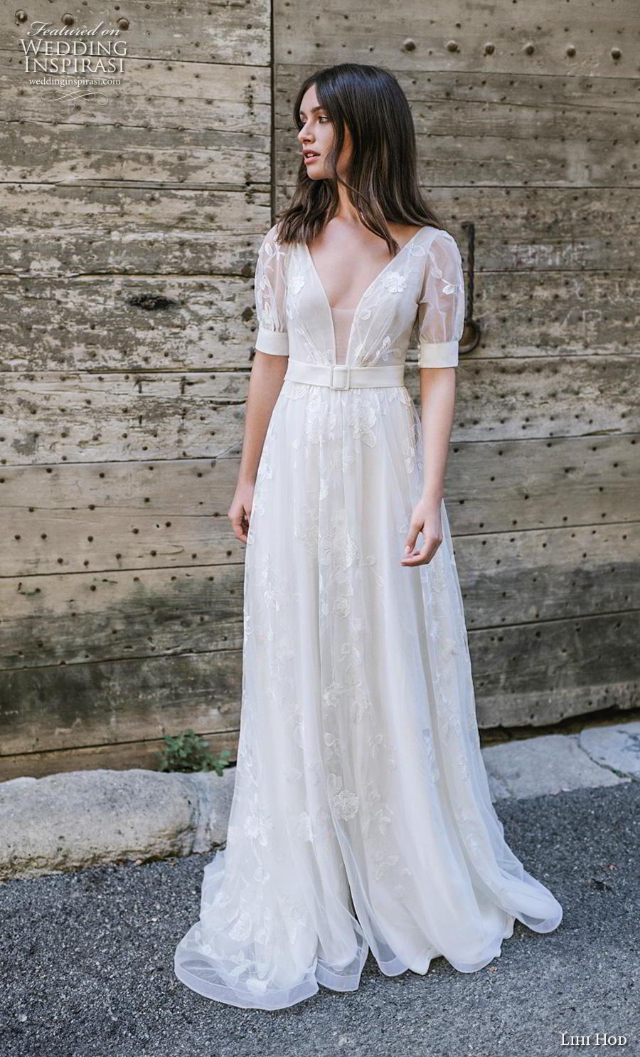 lihi hod 2019 bridal half sleeves deep v neck light embellishment romantic bohemian modified a  line wedding dress backless v back chapel train (6) mv
