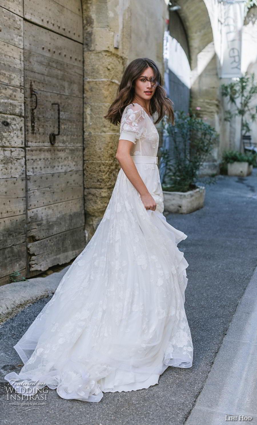 lihi hod 2019 bridal half sleeves deep v neck light embellishment romantic bohemian modified a  line wedding dress backless v back chapel train (6) sdv